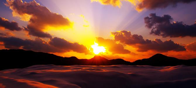 隠岐の島冬の夕焼け