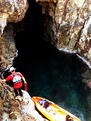 洞窟から上陸