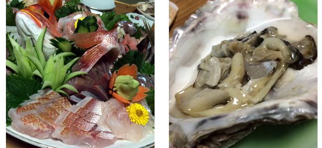 刺身盛り 連子鯛 牡蠣など